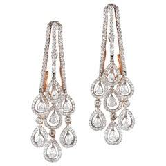 18 Karat Rose Gold White Diamond Hoop Earrings
