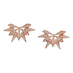 18 Karat Rose Gold White Diamond Starburst Studs