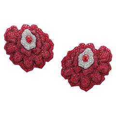 18 Karat Rose Gold, White Diamonds and Mozambican Rubies Earrings