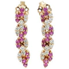 18 Karat Rose Gold White Diamonds and Pink Sapphires Garavelli Dangling Earrings