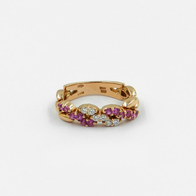 Contemporary 18 Karat Rose Gold White Diamonds and Pink Sapphires Garavelli Ring For Sale