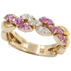 18 Karat Rose Gold White Diamonds and Pink Sapphires Garavelli Ring