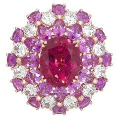 18 Karat Rose Gold, White Diamonds and Rubelite Ballerina Cocktail Ring
