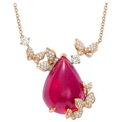 18 Karat Rose Gold, White Diamonds and Rubelite Cabochon Necklace