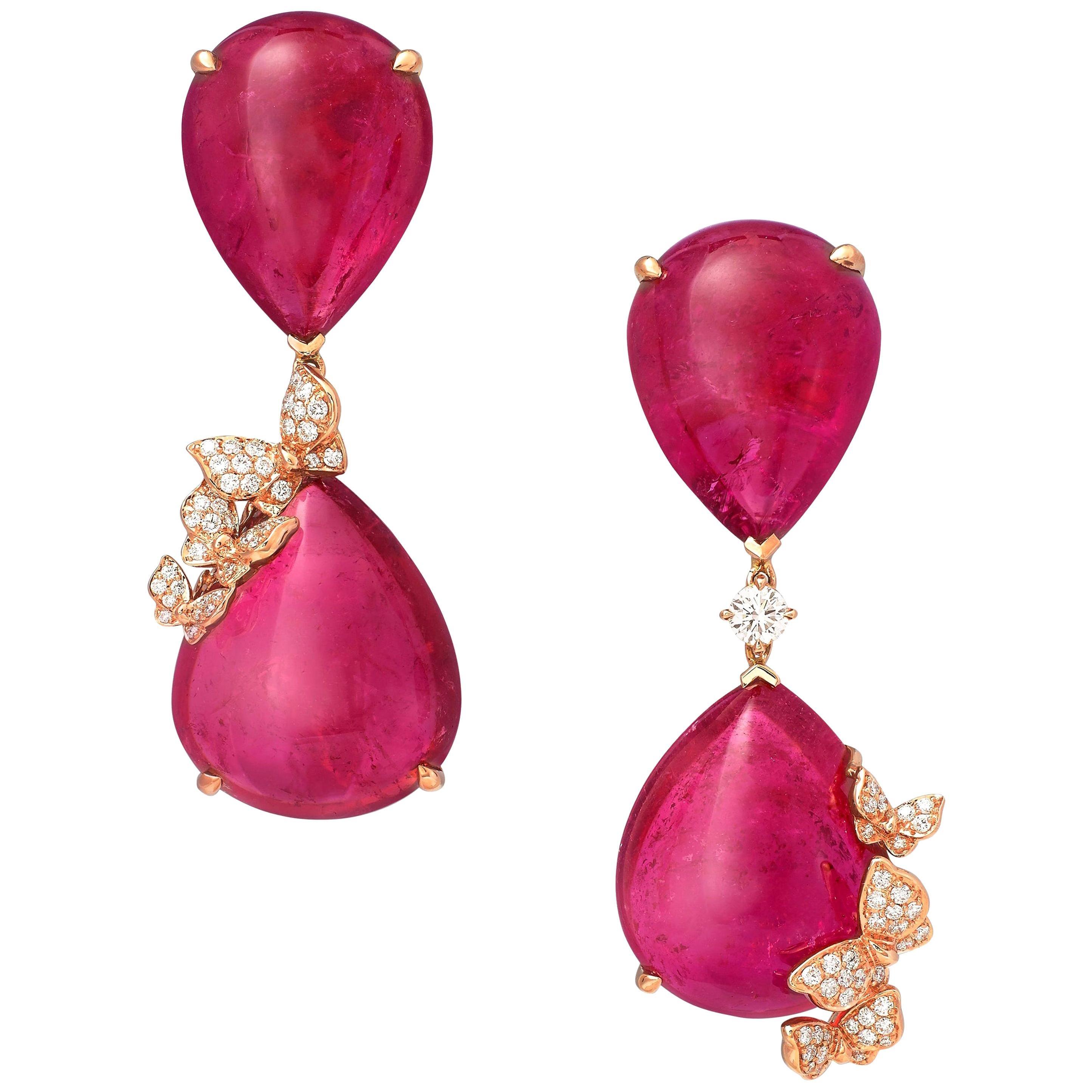 18 Karat Rose Gold, White Diamonds and Rubelites Cabochon Earrings