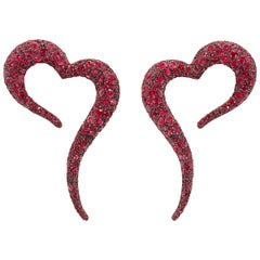 18 Karat Rose Gold, White Diamonds and Rubies Heart Shaped Earrings