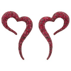 18 Karat Rose Gold, White Diamonds and Rubies Large Heart Shaped Earrings