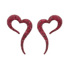 18 Karat Rose Gold, White Diamonds and Rubies Large Heart Shaped Earrings