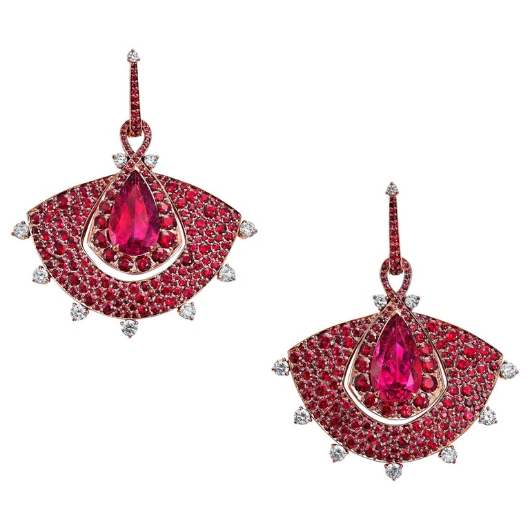 Out of Africa rose gold, white diamond, Mozambican ruby and rubellite fan earrings, 2017