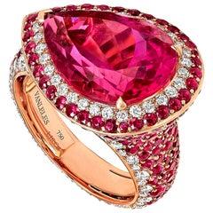 18 Karat Rose Gold White Diamonds Mozambican Rubies and Rubelites Cocktail Ring