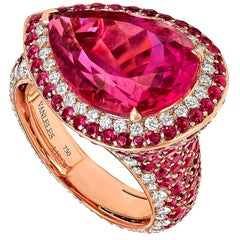 18 Karat Rose Gold White Diamonds Mozambican Rubies and Rubelites Cocktail Ring