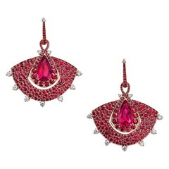 18 Karat Rose Gold, White Diamonds, Mozambican Rubies and Rubellite Fan Earrings