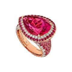 18 Karat Rose Gold White Diamonds Mozambican Rubies and Rubellites Cocktail Ring