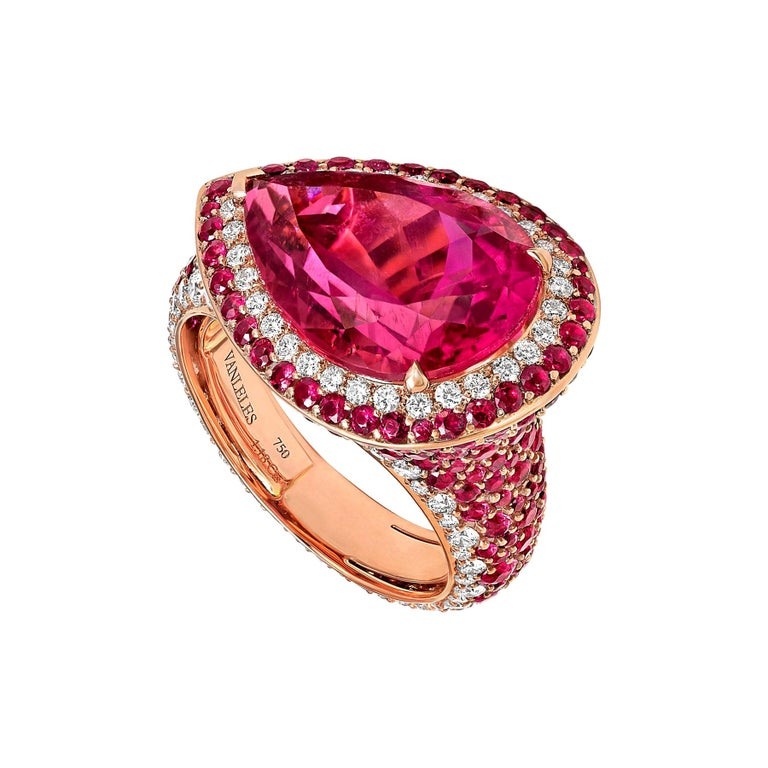18 Karat Rose Gold White Diamonds Mozambican Rubies and Rubellites Cocktail Ring For Sale