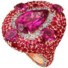 18 Karat Rose Gold, White Diamonds, Rubies and Rubellite Cocktail Ring