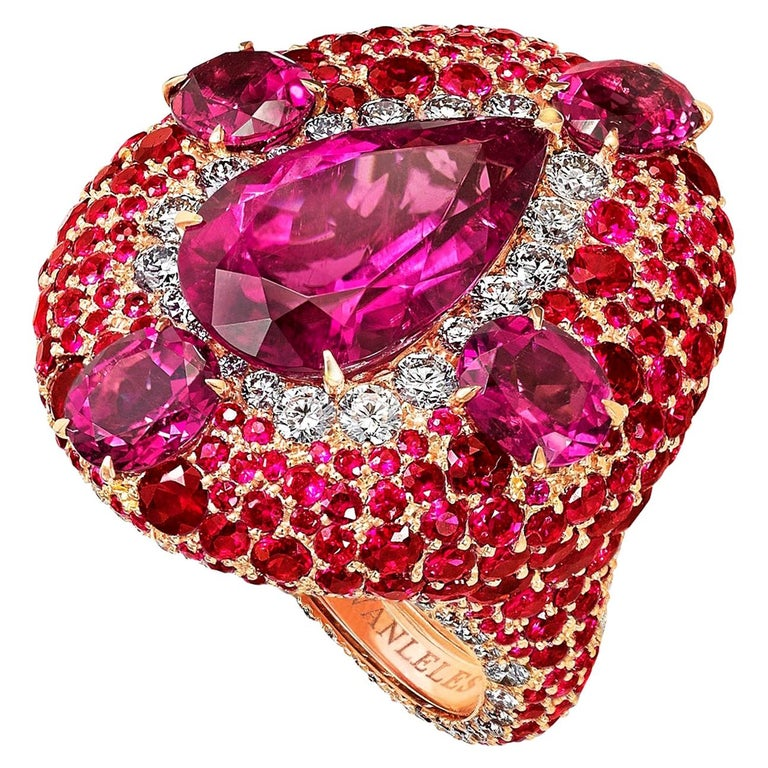 Out of Africa rose gold, white diamond, ruby and rubellite cocktail ring, 2017