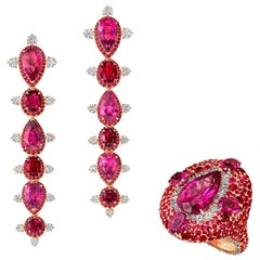 18 Karat Rose Gold, White Diamonds, Rubies and Rubellite Earrings and Ring