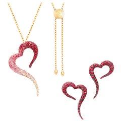 18 Karat Rose Gold, White Diamonds, Rubies, Sapphires Pendant and Small Earrings