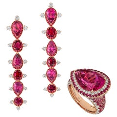 18 Karat Rose Gold, White Diamonds, Ruby and Rubelite Stiletto Earrings and Ring