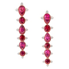 18 Karat Rose Gold, White Diamonds, Ruby and Rubellite Stiletto Earrings
