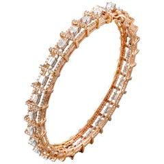 18 Karat Rose Gold White Gold White Diamond Bangle