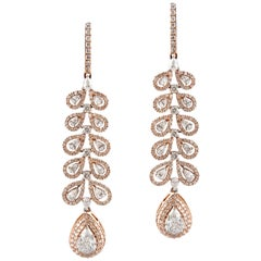 18 Karat Rose Gold White Gold White Diamond Chandelier Earrings
