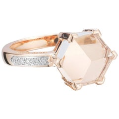 18 Karat Rose Gold White Topaz 4.42 Carat Brillante Valentina Ring