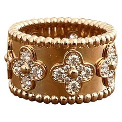 18 Karat Rose Gold Wide Van Cleef & Arpels Perlee Clover and Diamond Ring 54