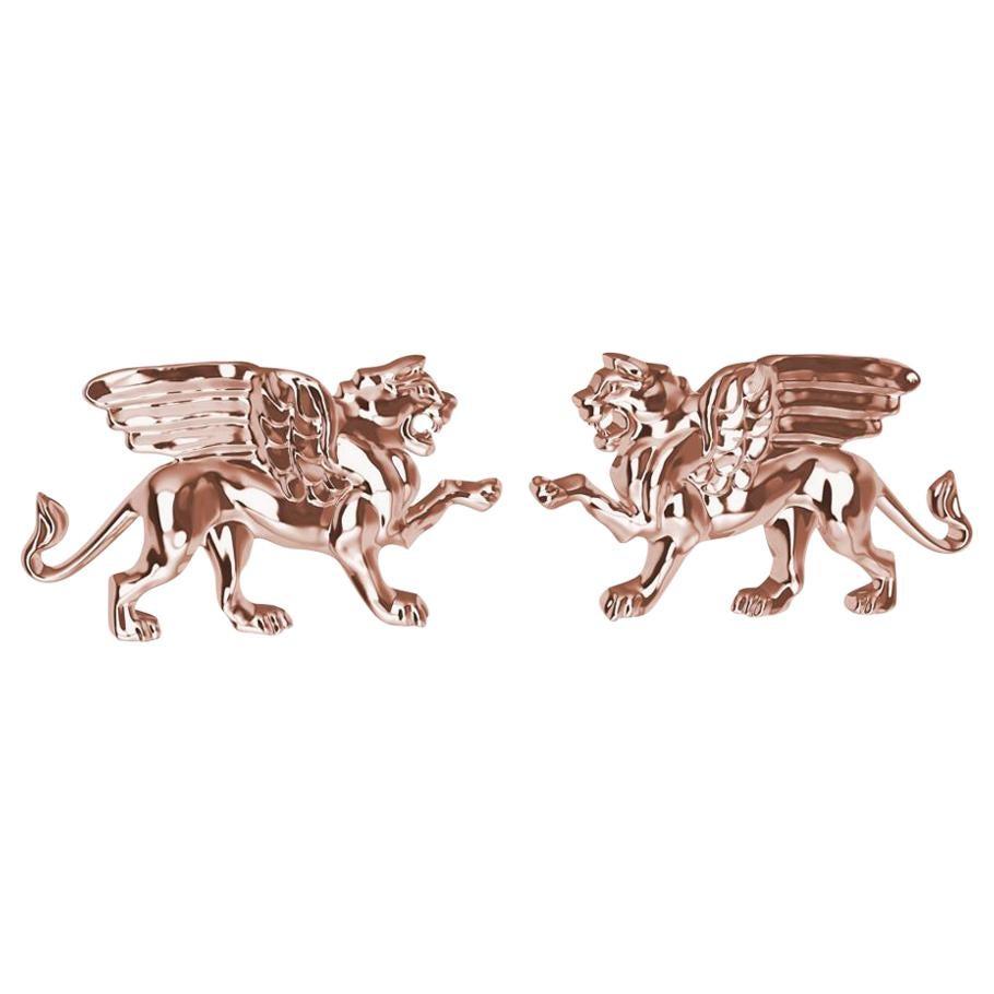 18 Karat Rose Gold Winged Lion Griffin Stud Earrings
