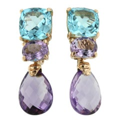 18 Karat Rose Gold with Amethyst and Blue Topaz Earrings