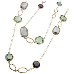 18 Karat Rose Gold with Amethyst and Green Amethyst Long Necklace