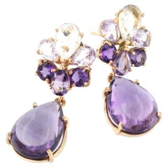 18 Karat Rose Gold with Amethyst and Prasiolite Earrings