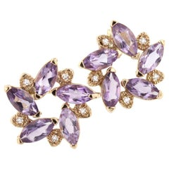 18 Karat Rose Gold with Amethyst and White Diamonds Earrings