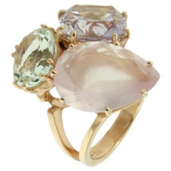 18 Karat Rose Gold with Amethyst Green Amethyst and Pink Quartz Ring