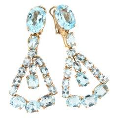 18 Karat Rose Gold with Blue Topaz Earrings