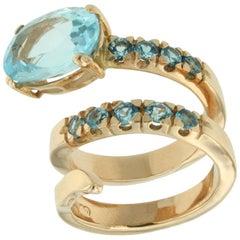 18 Karat Rose Gold with Blue Topaz Ring