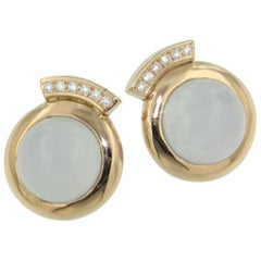 18 Karat Rose Gold with Chalcedony and White Diamonds Earrings