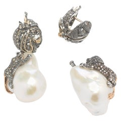 18 Karat Rose Gold with Diamond Animals and Baroque Pearls Earrings