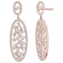 18 Karat Rose Gold with Diamond Oval Drop Earring