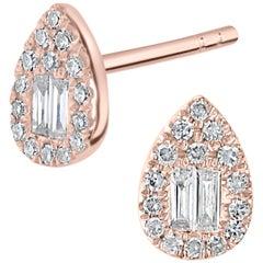 18 Karat Rose Gold with Diamond Pear Stud Earring