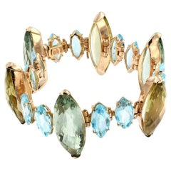 18 Karat Rose Gold with Green Amethyst, Lemon Quartz and Blue Topaz Bracelet