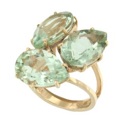 18 Karat Rose Gold with Green Amethyst Ring