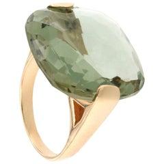 18 Karat Rose Gold with Green Stone Ring