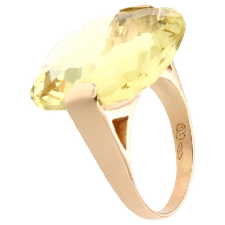 18 Karat Rose Gold with Lemon Quartz Ring