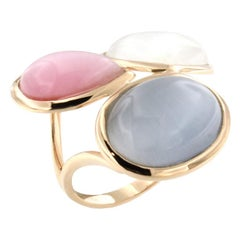 18 Karat Rose Gold with Moonstone and Colored Stones Ring