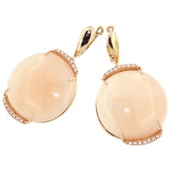 18 Karat Rose Gold with Moonstone and White Diamonds Earrings