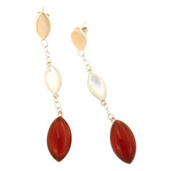 18 Karat Rose Gold with Mother of Pearl and Carnelian Earrings