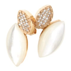18 Karat Rose Gold with Mother of Pearl and Diamonds Earrings