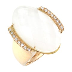 18 Karat Rose Gold with Mother of Pearl/Quartz and White Diamond Ring