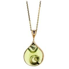 18 Karat Rose Gold with Natural Lemon Quartz and White Sapphire Necklace